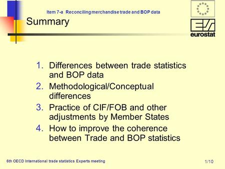 Item 7-a Reconciling merchandise trade and BOP data 6th OECD International trade statistics Experts meeting 1/10 Summary 1. Differences between trade statistics.