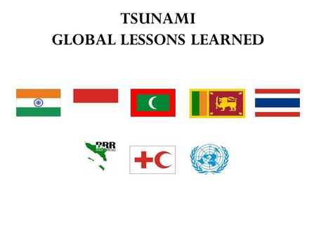 TSUNAMI GLOBAL LESSONS LEARNED. The 2004 Tsunami: A Mega Disaster.