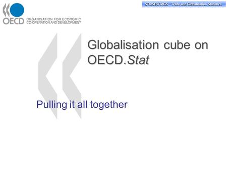 STD/PASS/TAGS – Trade and Globalisation Statistics STD/SES/TAGS – Trade and Globalisation Statistics Globalisation cube on OECD.Stat Pulling it all together.