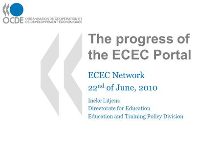 The progress of the ECEC Portal ECEC Network 22 nd of June, 2010 Ineke Litjens Directorate for Education Education and Training Policy Division.