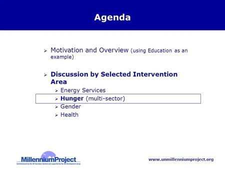 Www.unmillenniumproject.org Agenda Motivation and Overview (using Education as an example) Discussion by Selected Intervention Area Energy Services Hunger.