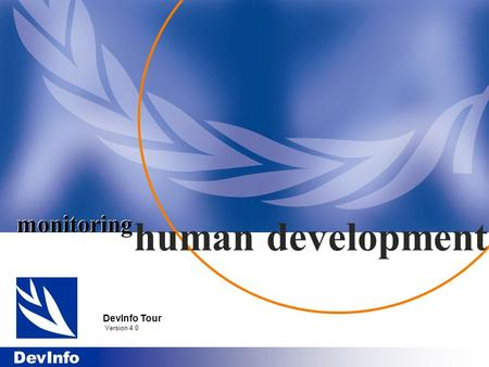 Monitoring human development DevInfo Tour Version 4.0.
