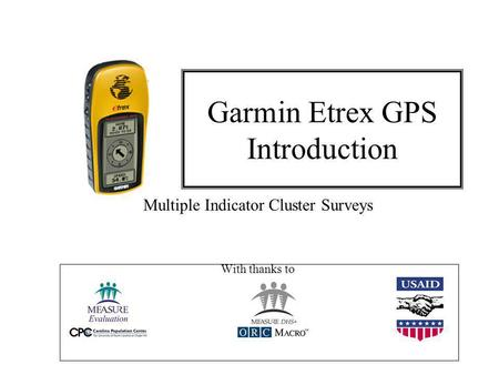 Garmin Etrex GPS Introduction