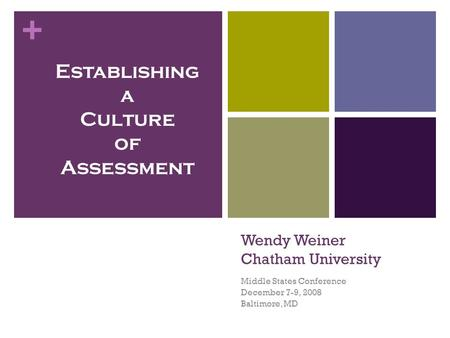 + Wendy Weiner Chatham University Middle States Conference December 7-9, 2008 Baltimore, MD Establishing a Culture of Assessment.