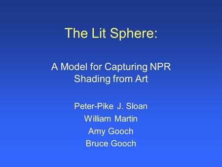 A Model for Capturing NPR Shading from Art