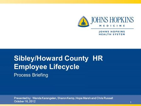 1 Sibley/Howard County HR Employee Lifecycle Process Briefing Presented by: Wanda Karangelen, Sharon Kemp, Hope Marsh and Chris Russell October 16, 2012.