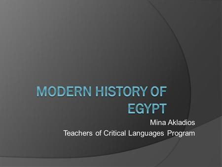 Mina Akladios Teachers of Critical Languages Program.