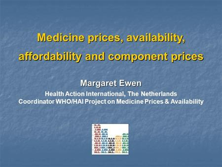 Medicine prices, availability, affordability and component prices Margaret Ewen Health Action International, The Netherlands Coordinator WHO/HAI Project.
