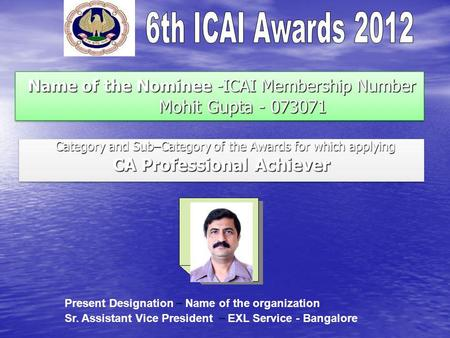Name of the Nominee -ICAI Membership Number Mohit Gupta - 073071 Name of the Nominee -ICAI Membership Number Mohit Gupta - 073071 Category and Sub–Category.