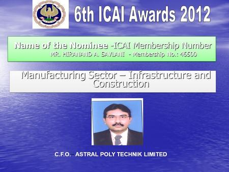 Name of the Nominee -ICAI Membership Number MR. HIRANAND A. SAVLANI - Membership No.: 46500 Name of the Nominee -ICAI Membership Number MR. HIRANAND A.