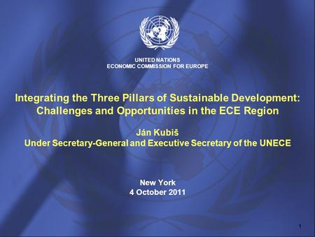 UNITED NATIONS ECONOMIC COMMISSION FOR EUROPE Integrating the Three Pillars of Sustainable Development: Challenges and Opportunities in the ECE Region.