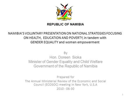 NAMIBIAS VOLUNTARY PRESENTATION ON NATIONAL STRATEGIES FOCUSING ON HEALTH, EDUCATION AND POVERTY, in tandem with GENDER EQUALITY and women empowerment.