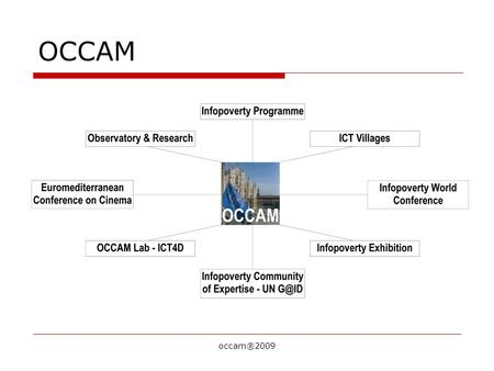 Occam®2009 OCCAM. Mission of OCCAM TO PROVIDE ICT SERVICES FOR SUSTAINABLE DEVELOPMENT.