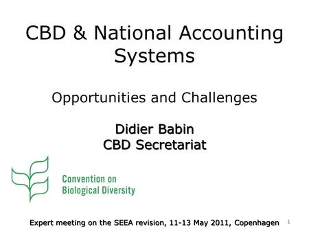 CBD & National Accounting Systems Opportunities and Challenges 1 Expert meeting on the SEEA revision, 11-13 May 2011, Copenhagen Didier Babin CBD Secretariat.