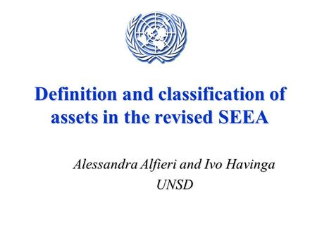 Definition and classification of assets in the revised SEEA