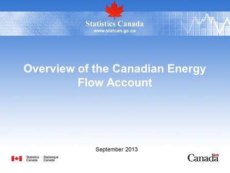 Overview of the Canadian Energy Flow Account September 2013.