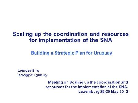Scaling up the coordination and resources for implementation of the SNA Building a Strategic Plan for Uruguay Lourdes Erro Meeting on.