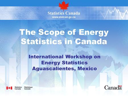 The Scope of Energy Statistics in Canada International Workshop on Energy Statistics Aguascalientes, Mexico.