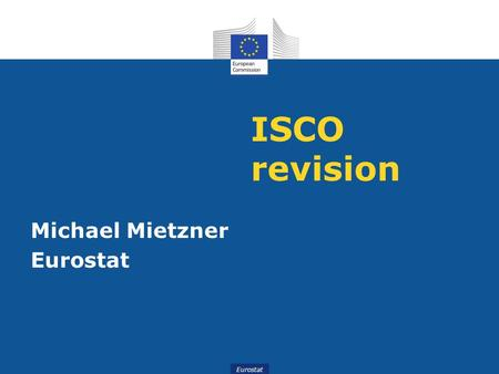 ISCO revision Michael Mietzner Eurostat.