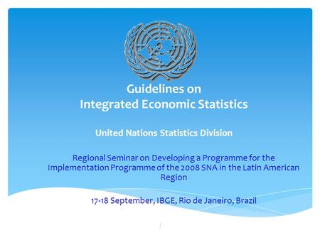 Guidelines on Integrated Economic Statistics United Nations Statistics Division Regional Seminar on Developing a Programme for the Implementation Programme.