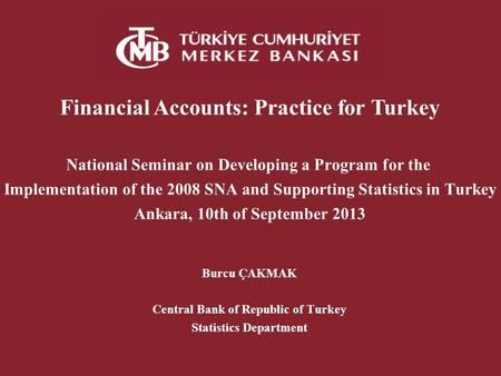 Financial Accounts: Practice for Turkey National Seminar on Developing a Program for the Implementation of the 2008 SNA and Supporting Statistics in Turkey.