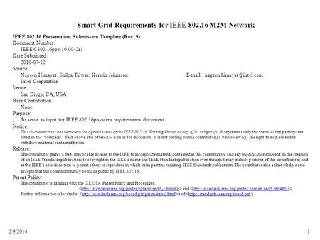 Smart Grid Requirements for IEEE M2M Network