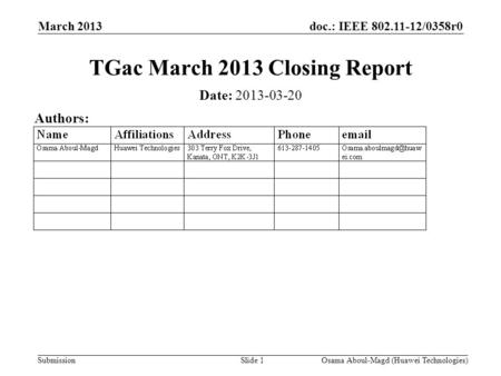 Doc.: IEEE 802.11-12/0358r0 Submission March 2013 Osama Aboul-Magd (Huawei Technologies)Slide 1 TGac March 2013 Closing Report Date: 2013-03-20 Authors: