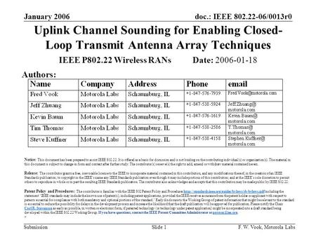 Doc.: IEEE 802.22-06/0013r0 Submission January 2006 F. W. Vook, Motorola LabsSlide 1 Uplink Channel Sounding for Enabling Closed- Loop Transmit Antenna.