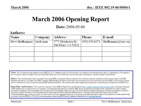 Doc.: IEEE 802.19-06/0009r1 Submission March 2006 Steve Shellhammer, QualcommSlide 1 March 2006 Opening Report Notice: This document has been prepared.