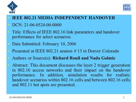 21-06-0524-01-00001 IEEE 802.21 MEDIA INDEPENDENT HANDOVER DCN: 21-06-0524-00-0000 Title: Effects of IEEE 802.16 link parameters and handover performance.