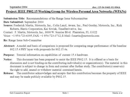 Doc.: 15-04-0461-01-004A Sub-Committee Report September 2004 Martin et alSlide 1 Project: IEEE P802.15 Working Group for Wireless Personal Area Networks.