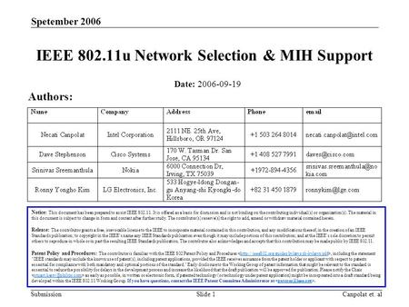Submission Spetember 2006 Canpolat et. alSlide 1 IEEE 802.11u Network Selection & MIH Support Notice: This document has been prepared to assist IEEE 802.11.