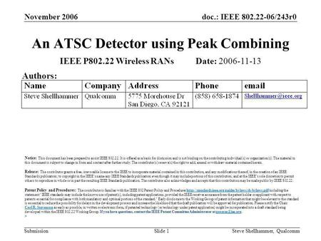 Doc.: IEEE 802.22-06/243r0 Submission November 2006 Steve Shellhammer, QualcommSlide 1 An ATSC Detector using Peak Combining IEEE P802.22 Wireless RANs.