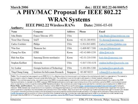 Doc.: IEEE 802.22-06/0005r5 Submission March 2006 ETRI, FT, I2R, Motorola, Philips, Samsung, ThomsonSlide 1 A PHY/MAC Proposal for IEEE 802.22 WRAN Systems.