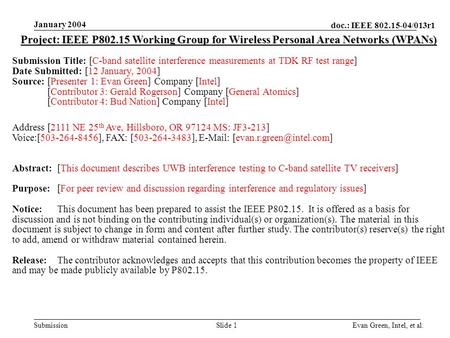 Doc.: IEEE 802.15-04/013r1 Submission January 2004 Evan Green, Intel, et al.Slide 1 Project: IEEE P802.15 Working Group for Wireless Personal Area Networks.