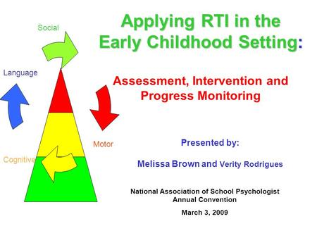 Applying RTI in the Early Childhood Setting: Applying RTI in the Early Childhood Setting: Assessment, Intervention and Progress Monitoring National Association.
