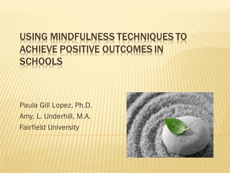 Paula Gill Lopez, Ph.D. Amy. L. Underhill, M.A. Fairfield University.