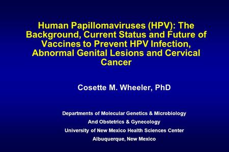 Human Papillomaviruses (HPV): The Background, Current Status and Future of Vaccines to Prevent HPV Infection, Abnormal Genital Lesions and Cervical Cancer.
