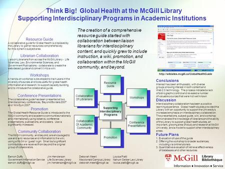Think Big! Global Health at the McGill Library Supporting Interdisciplinary Programs in Academic Institutions Supporting Interdisciplinary Programs Resource.