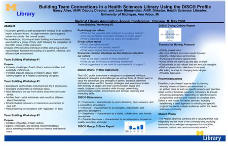 Building Team Connections in a Health Sciences Library Using the DiSC® Profile Nancy Allee, AHIP, Deputy Director, and Jane Blumenthal, AHIP, Director,