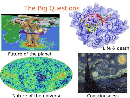 The Big Questions Nature of the universeConsciousness Life & death Future of the planet.