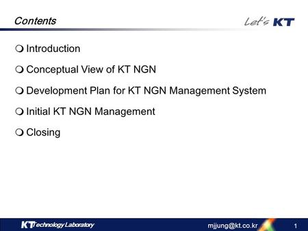 Conceptual View of KT NGN