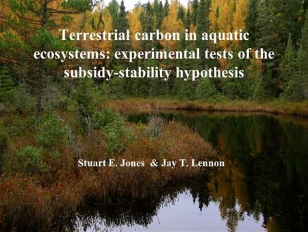 Terrestrial carbon in aquatic ecosystems: experimental tests of the subsidy-stability hypothesis Stuart E. Jones & Jay T. Lennon.