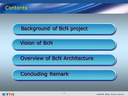 BcN : A Future Networking Vision from Korea September. 2006. Broadband Convergence Network Research Division.