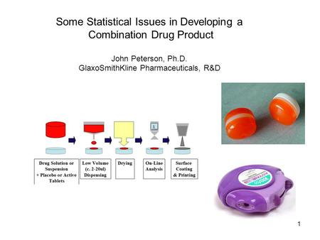 1 Some Statistical Issues in Developing a Combination Drug Product John Peterson, Ph.D. GlaxoSmithKline Pharmaceuticals, R&D.