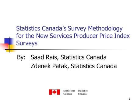 1 Statistics Canadas Survey Methodology for the New Services Producer Price Index Surveys By:Saad Rais, Statistics Canada Zdenek Patak, Statistics Canada.