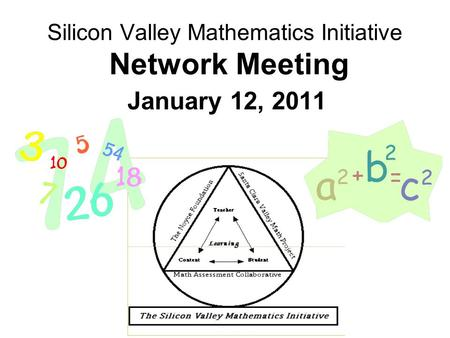 Silicon Valley Mathematics Initiative Network Meeting January 12, 2011.