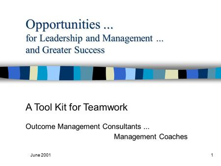 June 20011 Opportunities... for Leadership and Management... and Greater Success A Tool Kit for <strong>Teamwork</strong> Outcome Management Consultants... Management Coaches.