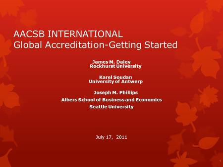 AACSB INTERNATIONAL Global Accreditation-Getting Started