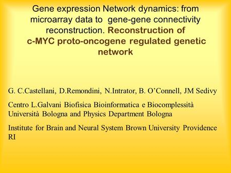 Gene expression Network dynamics: from microarray data to gene-gene connectivity reconstruction. Reconstruction of c-MYC proto-oncogene regulated genetic.